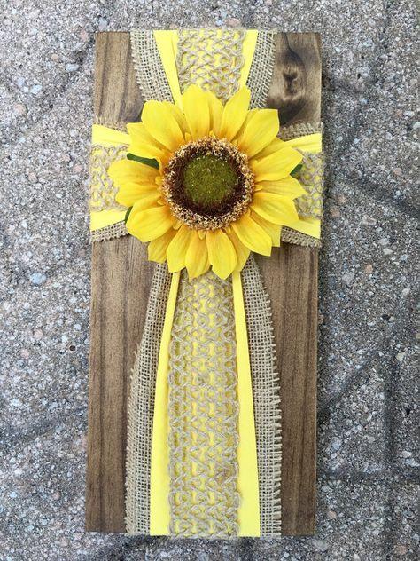Handmade Cross on Pine Sunflower on burlap by CustomCrossDecor ...