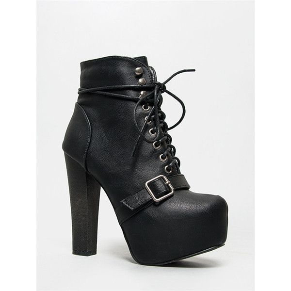BRITNEY-17 Bootie ($37) ❤ liked on Polyvore featuring shoes, boots, ankle booties, black, lace up booties, lace up boots, black bootie, chunky heel ankle boots and chunky heel booties