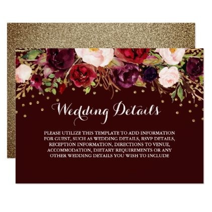 Floral burgundy gold wedding reception details card cyo customize floral burgundy gold wedding reception details card cyo customize design idea do it yourself solutioingenieria Images