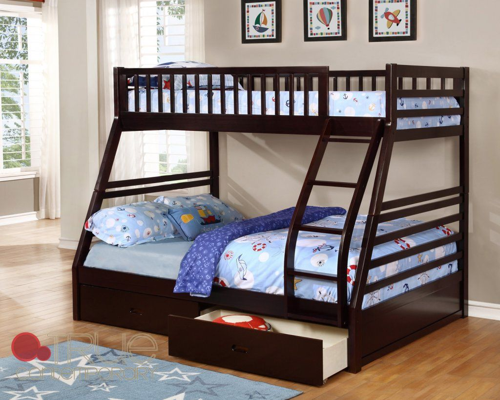 Fraser II Espresso Twin Over Full Bunk Bed FREE Shipping