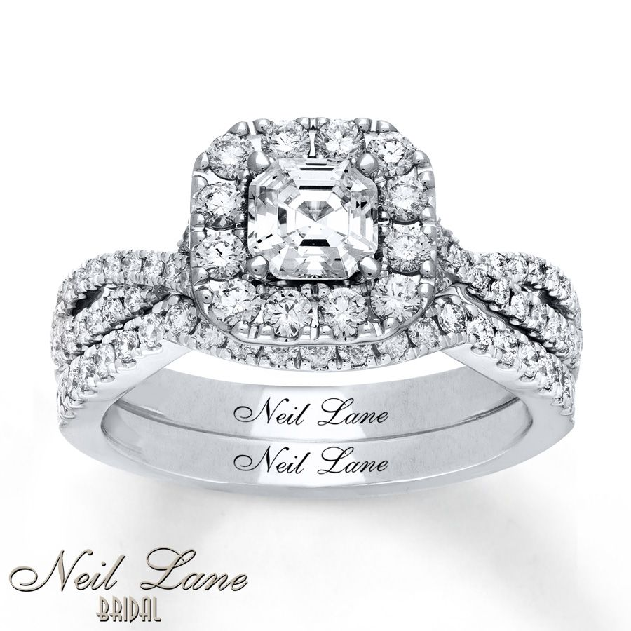 Swirl pattern white gold wedding ring for brides fashion fill - Neil Lane Bridal Set 1 1 2 Ct Tw Diamonds 14k White Gold