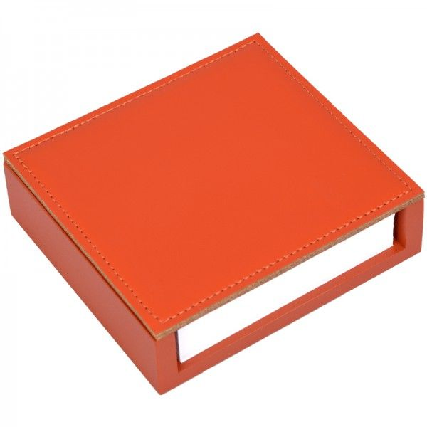 Zettelbox Leder orange