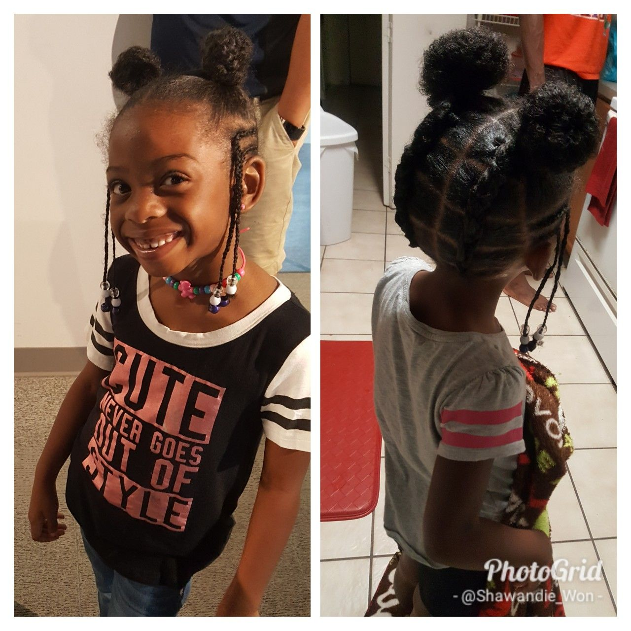 simple hair styles for little, black girls. braids, beads