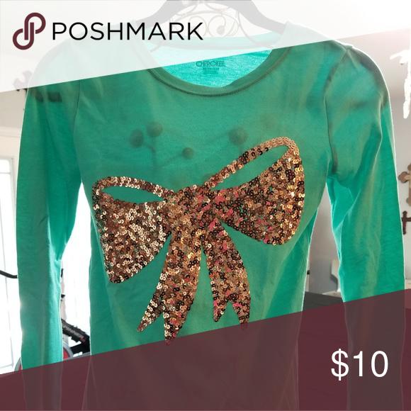 04810a3d3c20 Girls long sleeve shirt Cherokee seafoam green long sleeve pull over t-shirt  w/big gold sequin bow on front. Smoke free home. Cherokee Shirts & Tops  Tees ...