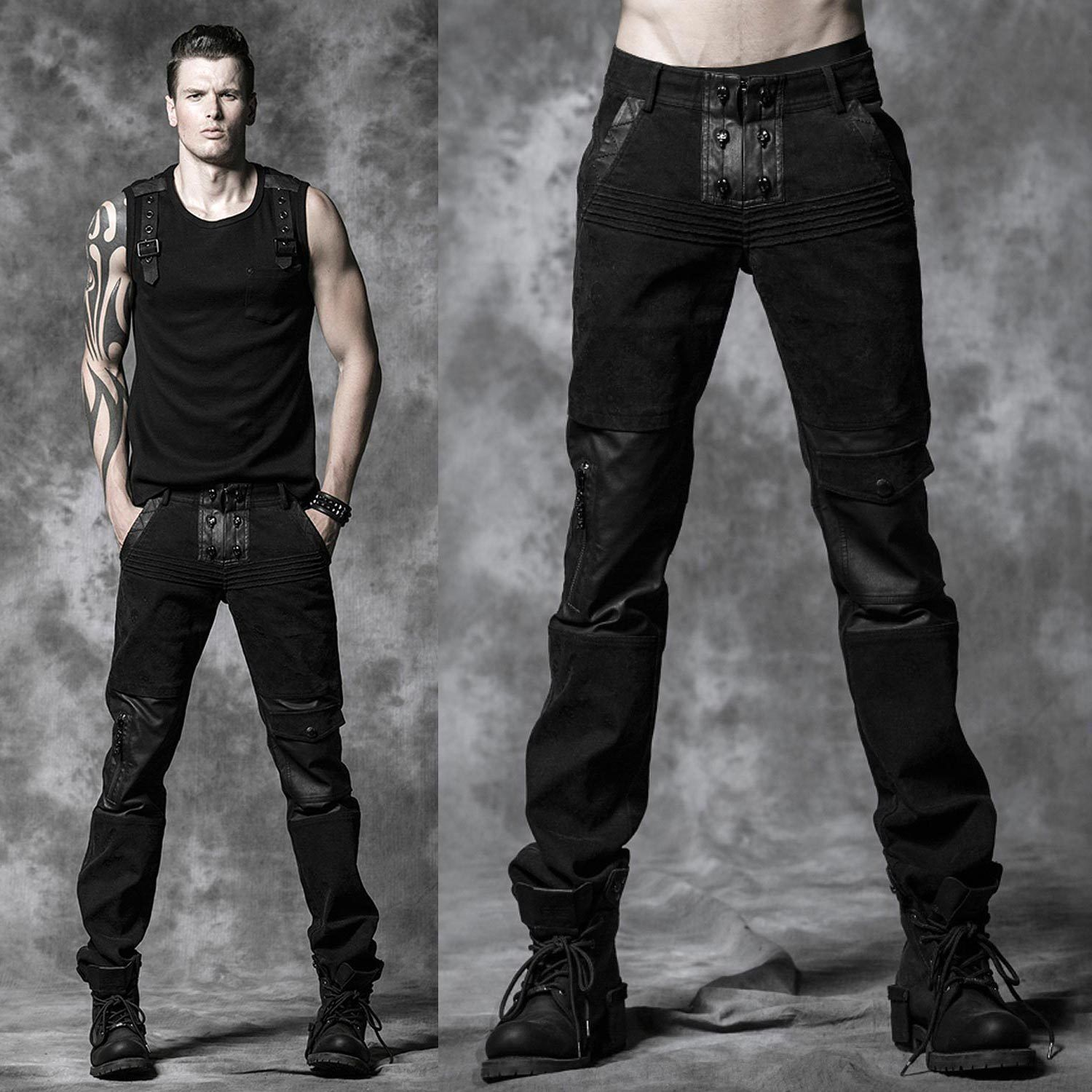 details zu punkrave dark skull pants ebm gothic hose uniform gothic men 39 s fashion and smart. Black Bedroom Furniture Sets. Home Design Ideas