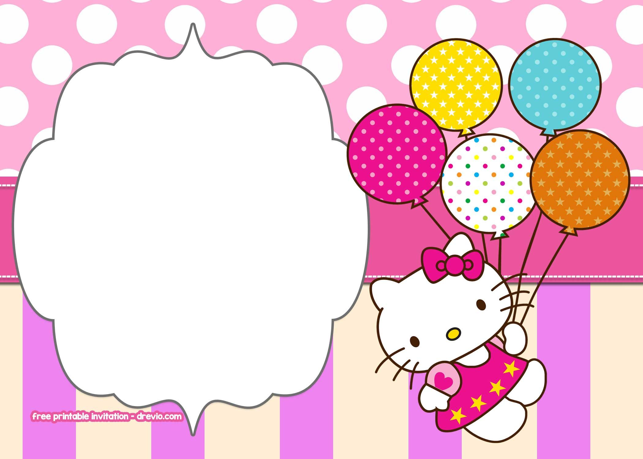 Free Printable Hello Kitty Pink Polka Dot Invitation Templates Hello Kitty Invitations Hello Kitty Invitation Card Hello Kitty Birthday