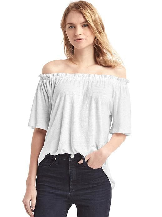 cdf2895e86bd9e Gap Womens Linen Off-Shoulder Top White | Products | Cute spring ...