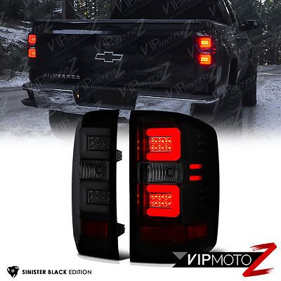 2014 2015 Chevy Silverado Sinister Black Led Neon Tube Smoke Tail Lights Lamps Chevy Silverado Accessories Silverado Accessories 2015 Chevy Silverado