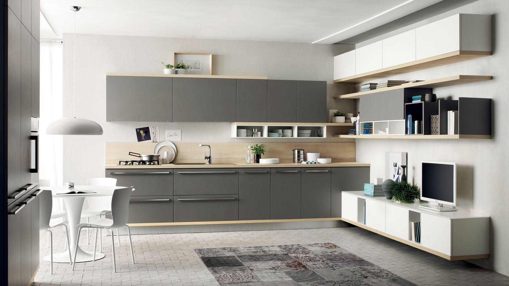 Scavolini kitchen LiberaMente - close, we like the open shelves ...