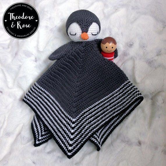 Crochet lovey pattern - Po The Playful Penguin security blanket - amigurumi Pattern, penguin pattern, crochet penguin, DIY - PATTERN