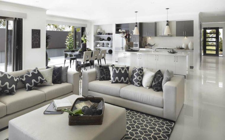 Elegante open space cucina soggiorno moderno pavimento for Soggiorno elegante