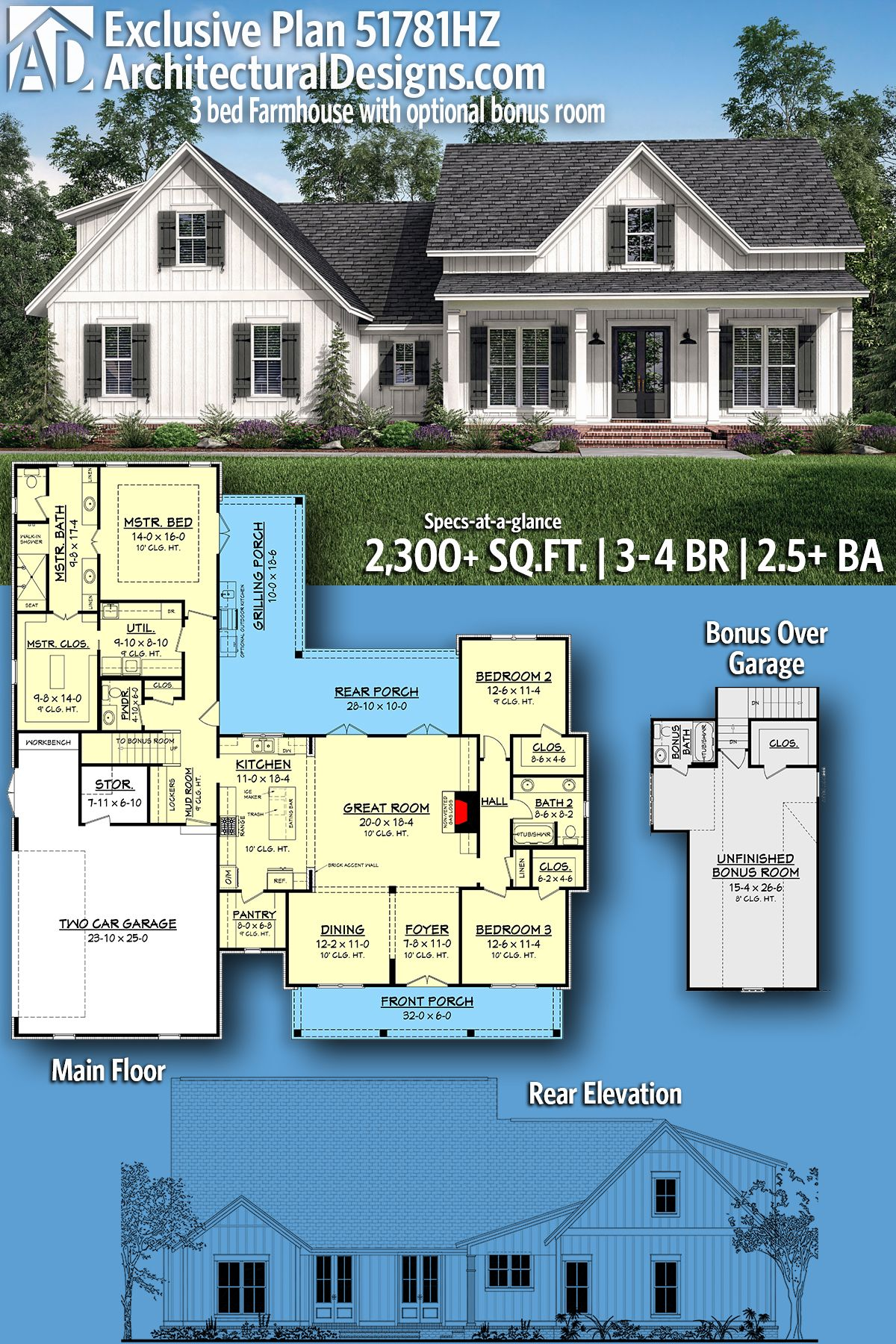Plan 51781HZ: Exclusive 3 Bed Farmhouse Plan with Optional Bonus Room – Floor Plans