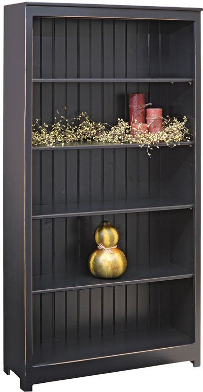 Six Foot Bookcase Painted In Primitive Black Wood Bookcase Primitive Shelves