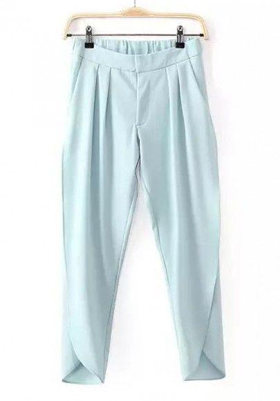 Light Blue Plain Zipper Irregular Split Nine's Pants