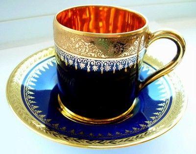 Antique Vintage Limoges Demi Tasse Cabinet Cup Saucer Cobalt Blue Gold Gilt   eBay