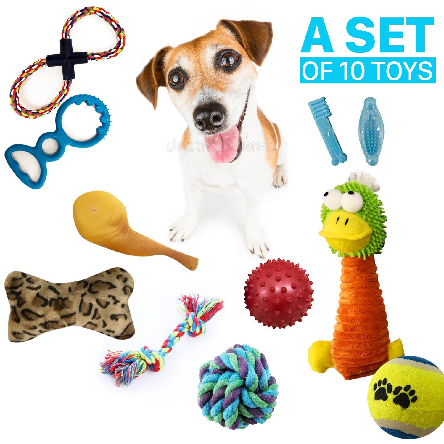 Small Dog Toys Dog Toys Set Ball Rope And Chew Squeaky Toys For