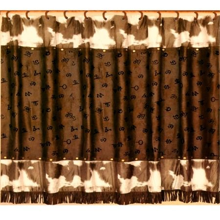 Cowhide Print With Cattle Brands Western Shower Curtain Style BA9073