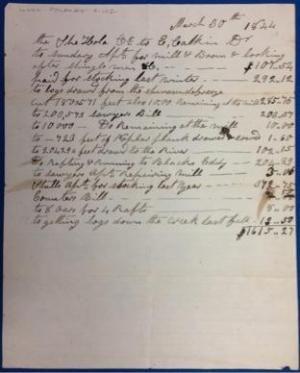 logging on the delaware river 1844 receipt for work completed logging on the delaware river 1844