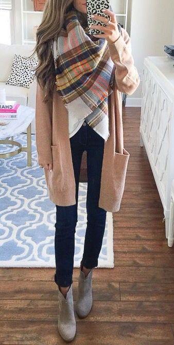 oversized camel cardigan with plaid blanket scarf