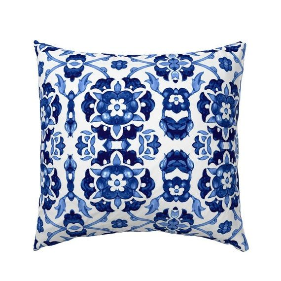 Floral Pillow Sham - Garland Of Flowers  by chicca_besso - Indigo Blue  Blue And White Cotton Sateen #garlandofflowers