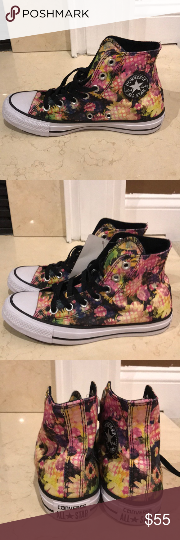 25eb51f2a4c6 NWOB Converse floral high top sneakers size 6