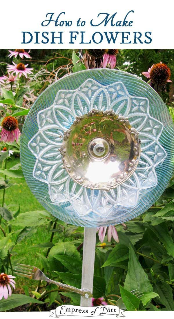 Turn Old Dishes And Serving Plates Into Garden Art Flowers