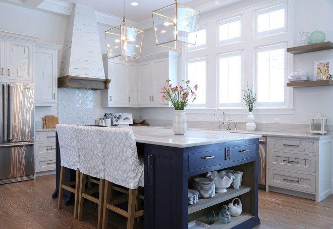 White Kitchen Ideas With Blue Island