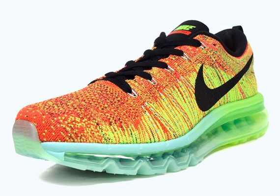 Nike Flyknit Air Max - Orange - Green