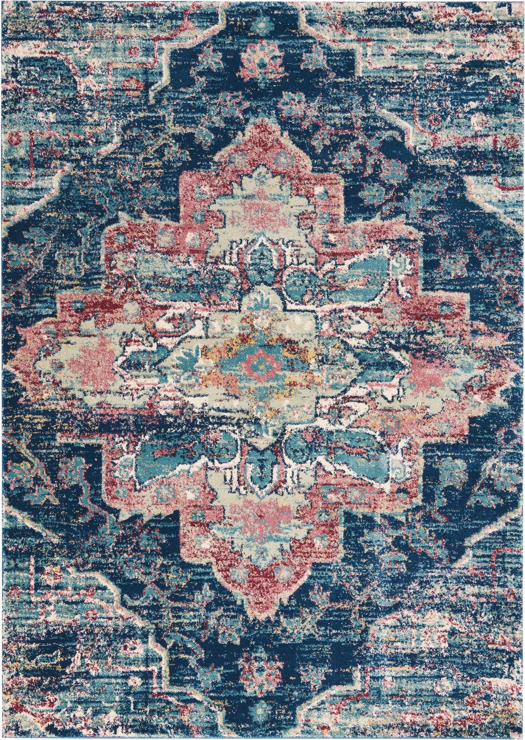 Fss13 Fusion Navy Pink Traditional Persian Rug Design Takes A Luxurious Turn In This Plush Collection Intricate Fl Patterns On Distressed