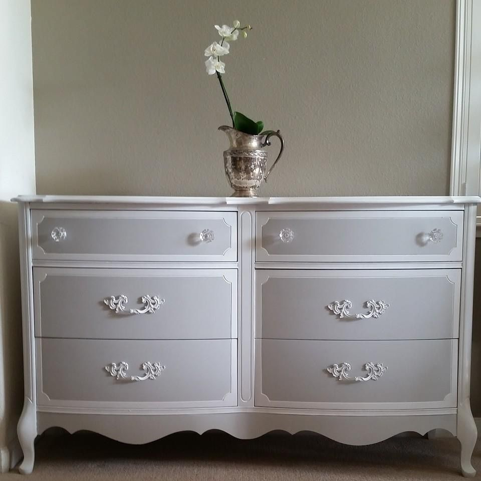 Painted Dresser Grey Gray And White French Provincial Dresser Vintage Dresser Shabby Chic Dresser Black Painted Furniture Redo Furniture [ 960 x 960 Pixel ]