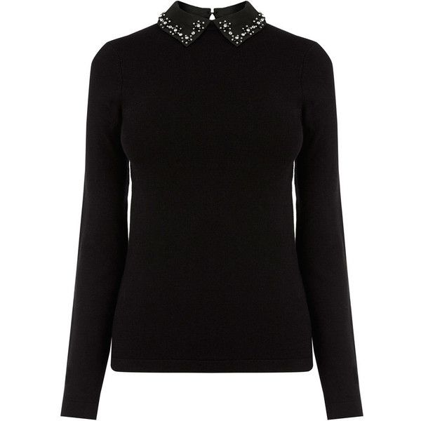 EMBELLISHED COLLAR JUMPER (585 SEK) ❤ liked on Polyvore featuring tops, sweaters, knit jumper sweater, knit top, knit jumper, jumpers sweaters and jumper top