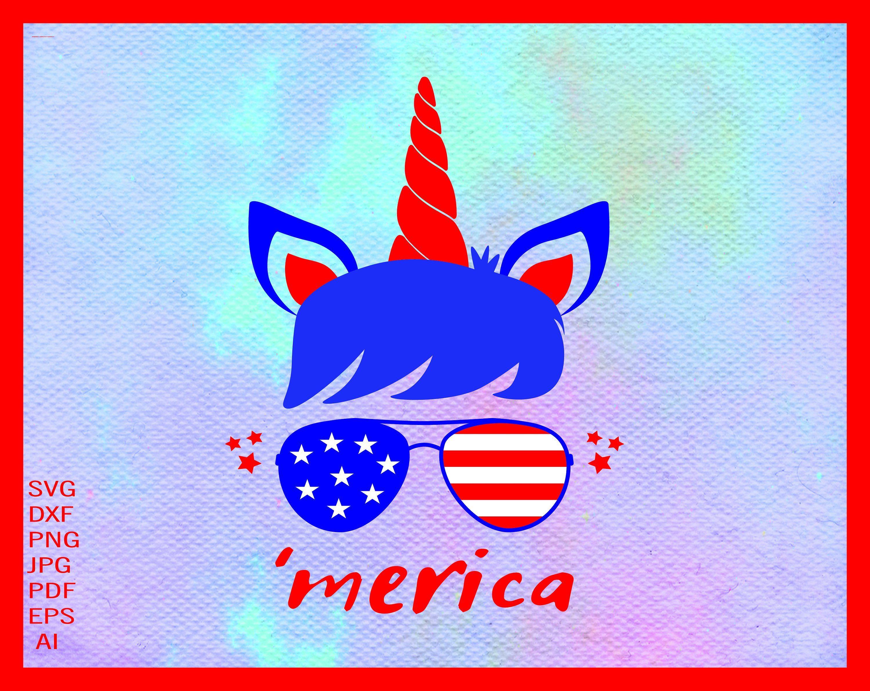 Unicorn Svg, Unicorn 4th July Svg, American Unicorn Face