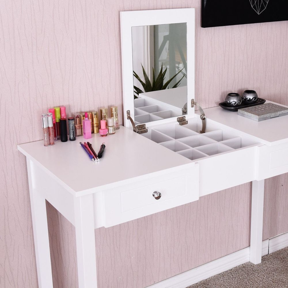 Details About Home White Vanity Table Dressing Tables W Mirror N