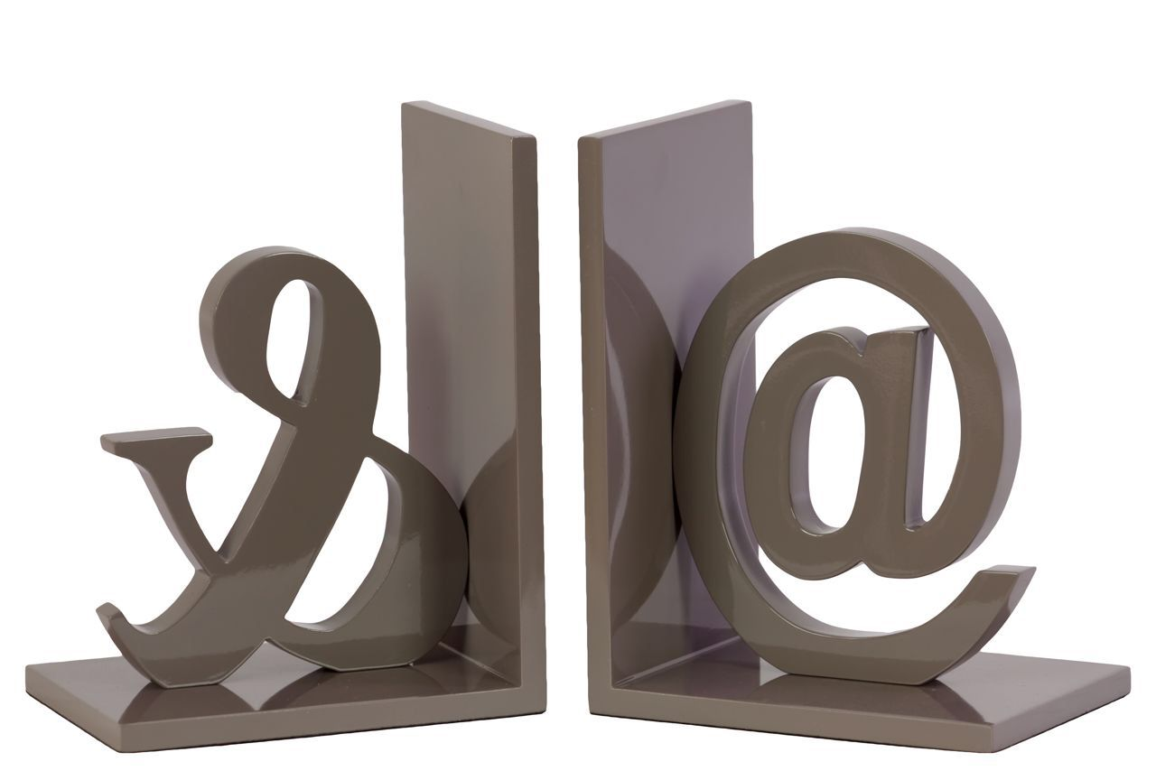 Wood @& Bookend Set of Two Coated Taupe Gray