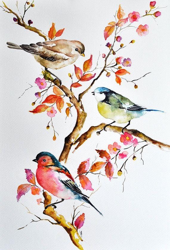 Peinture Aquarelle Oiseaux Originale Mesange Par Artcornershop