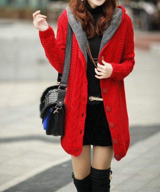 Red Hooded long thick warm sweater coat women's by ElegantGens ...