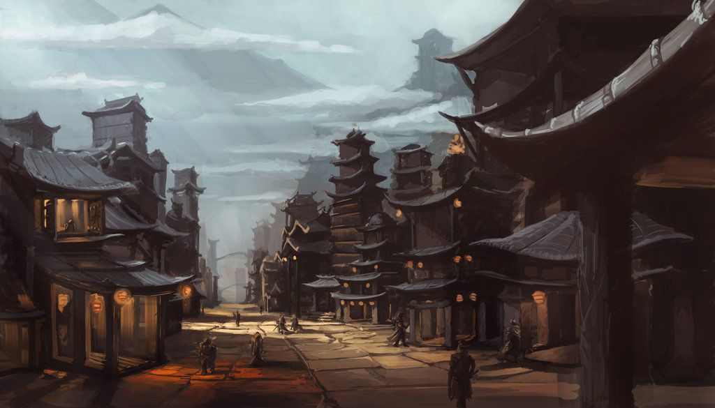 Concept Art Asian Fantasy Citiscape By Espj O Deviantart