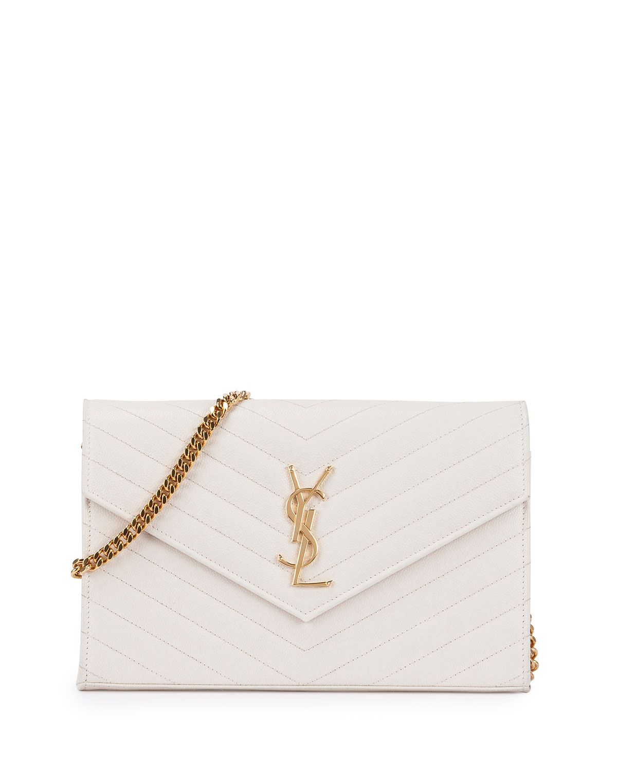 Yves Saint Lau Monogram Matelasse Wallet On A Chain White Blanc Grise