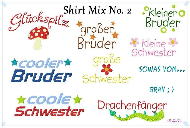 Kinderstoffe - Shirt Mix No. 2  Stickdatei 13x18 Sprüche - ein Designerstück von -BellaIsa- bei DaWanda