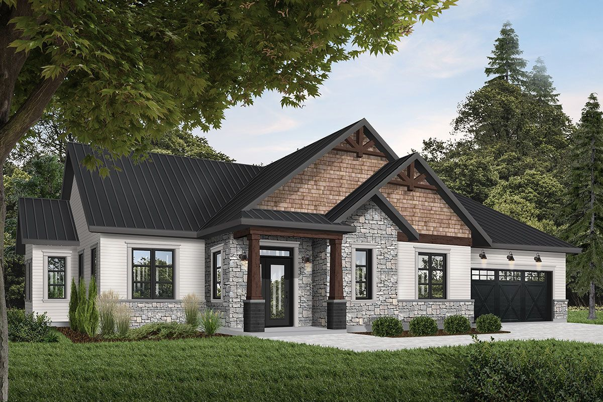 Plan 22542dr Rugged And Rustic 3 Bed Ranch Home Plan Ranch House Exterior Ranch House Plans Ranch Style Homes