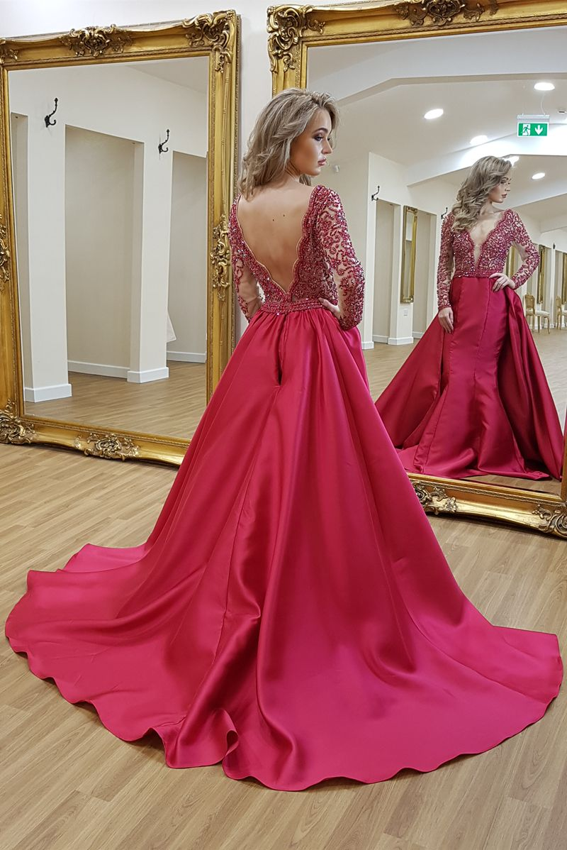 Aline deep vneck backless sweep train red satin prom dress with