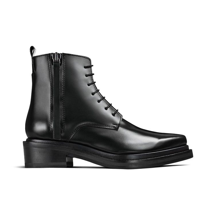 Acne Studios Linden black is a lace-up, ankle length derby boot with a side zipper.