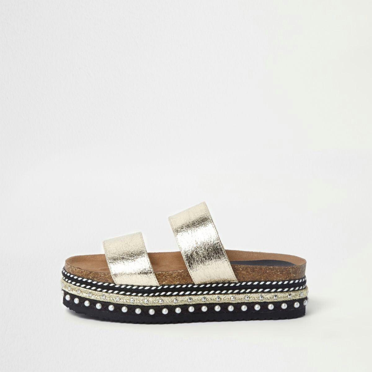 ee3dd7bd80 Gold metallic embellished flatform sliders | shoes | Espadrilles ...