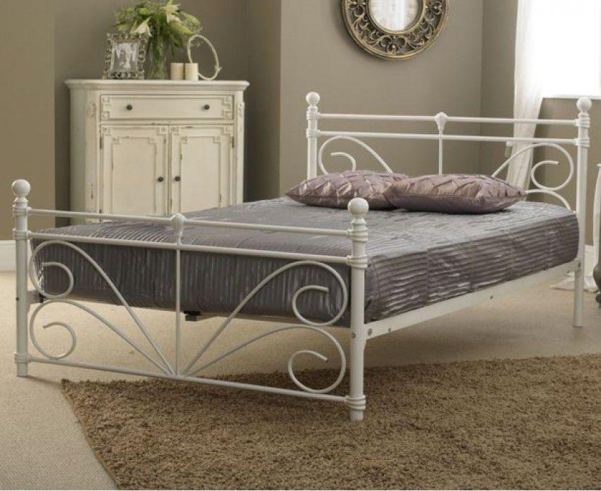 Carolina Ivory White Ornate Metal Bed