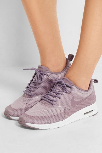 0da6f5e368 NIKE Air Max Thea, mesh sneakers. 1.5 inches Dusty-mauve mesh Lace-up front  Designer color: Plum Fog / Purple Smoke / White