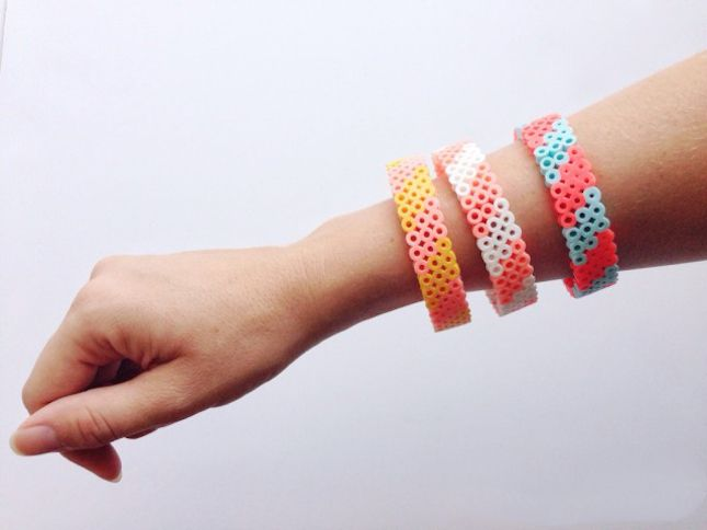 Up your arm party with Perler bead bangles.