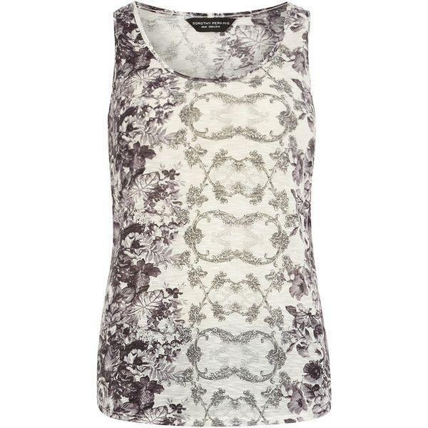 Grey/black floral vest ($25) ❤ liked on Polyvore
