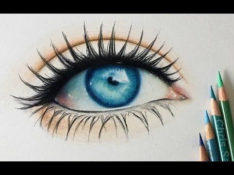 How I Draw A Realistic Colored Eye Youtube With Images Color