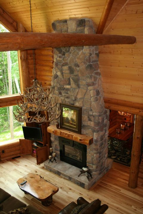 Double Sides Stone Fireplace With Custom Carved Mantel For The Home Pinterest Stone