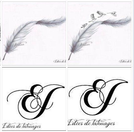 Plumes Initiales Et Oiseaux Pour Tatouage Modele Tats Tattoos